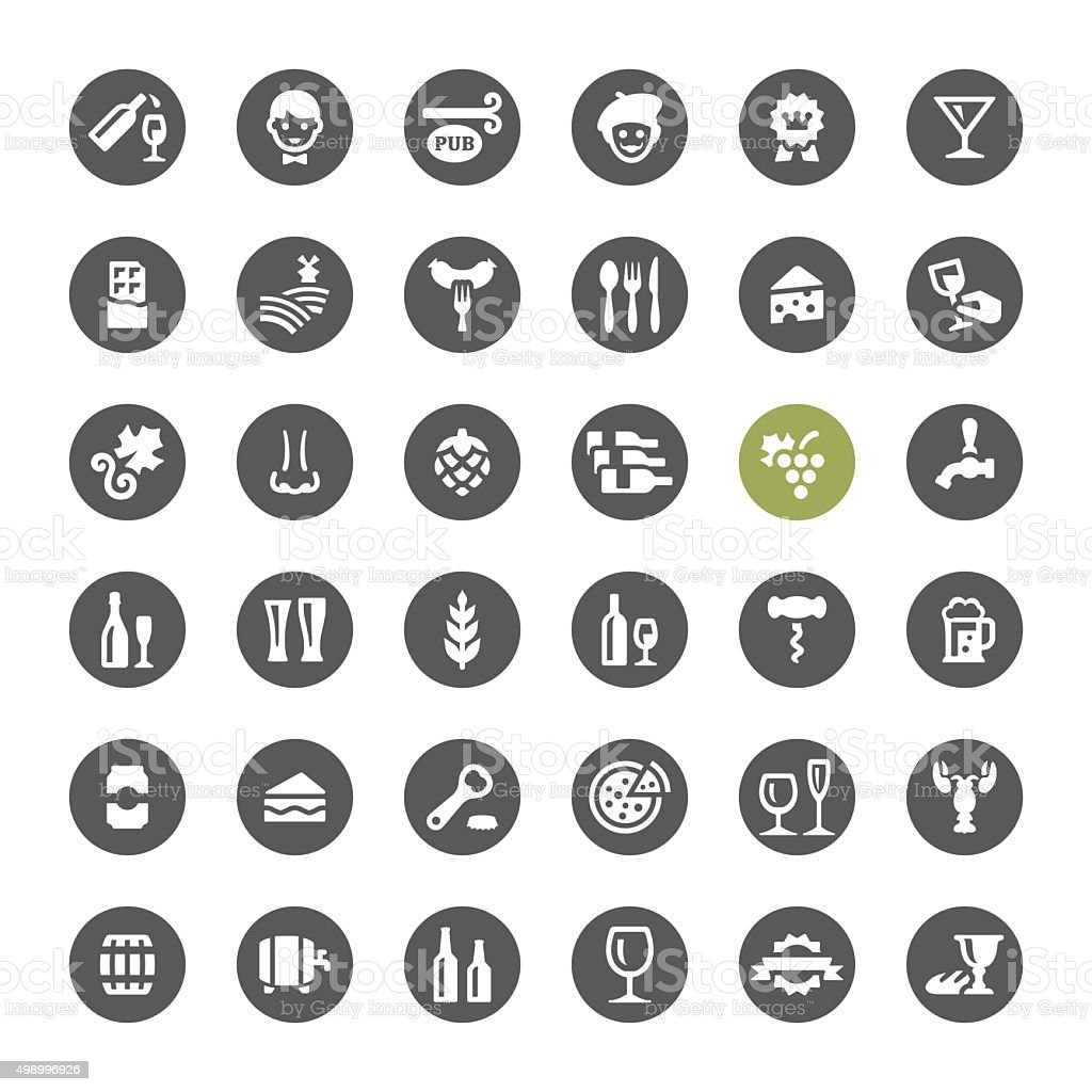 Cafe, Winery and Beer related vector icons vector art illustration