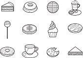 Set of twelve vector illustration icons, flat design.