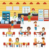 Cafeteria vector, people in canteen, people eating in the cafeteria.