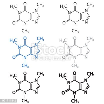 Caffeine Molecular Structural Chemical Formula Set Vector Icon Stock