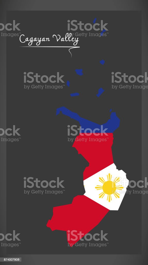 Cagayan Valley map of the Philippines with Philippine national flag illustration vector art illustration
