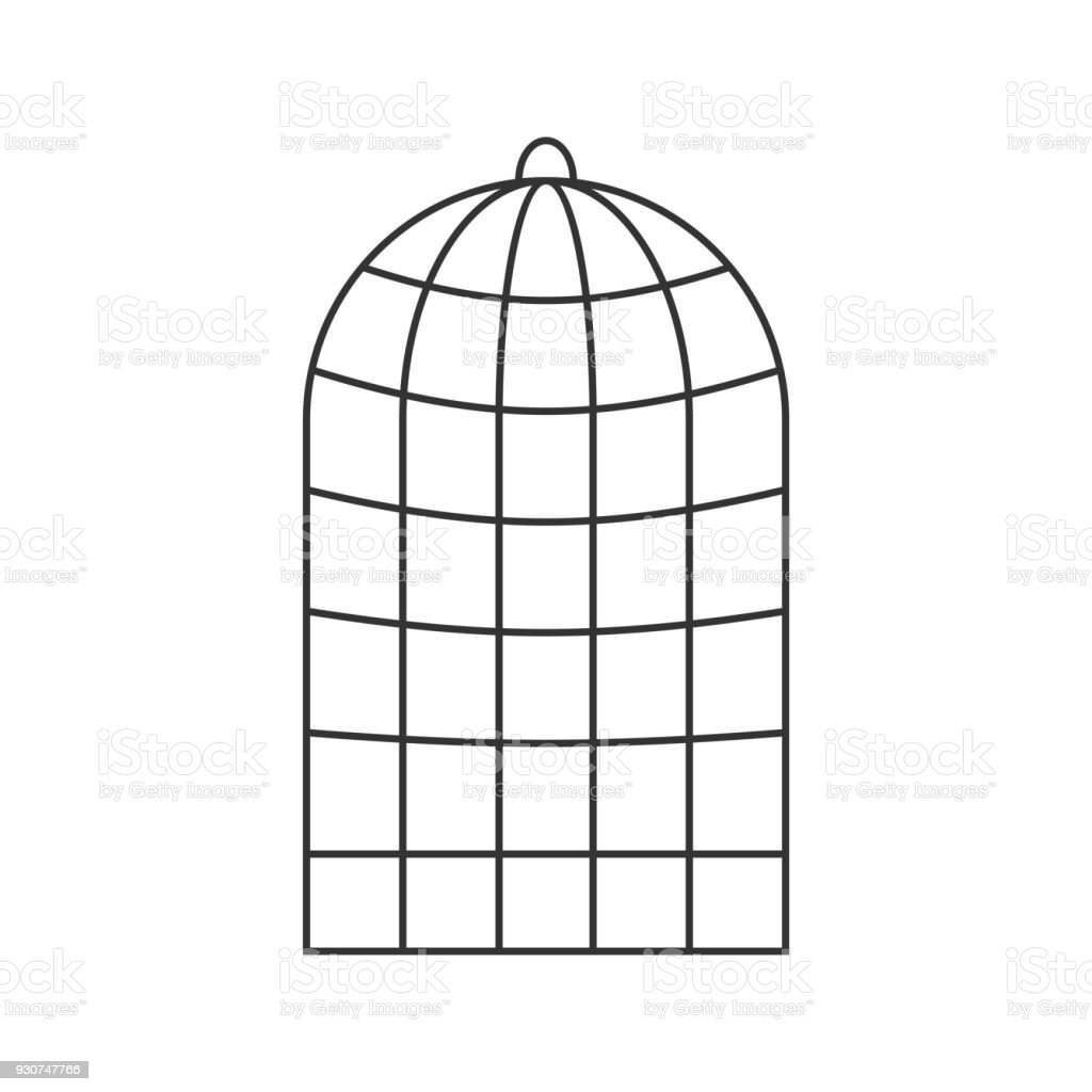 Cage for birds isolated. Trap for parrots. Vector illustration. vector art illustration