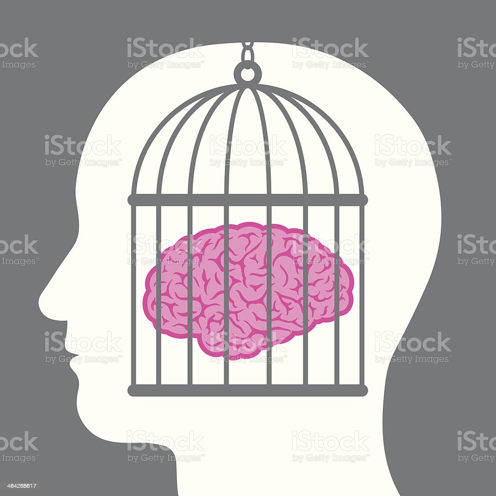 Caged brain inside a male head vector art illustration