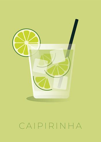Caipirinha cocktail with lime wedge. Stock illustration