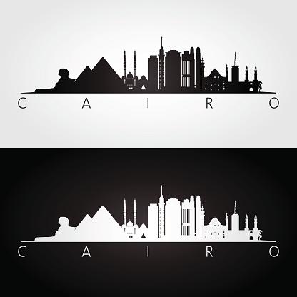 Cairo skyline and landmarks silhouette.