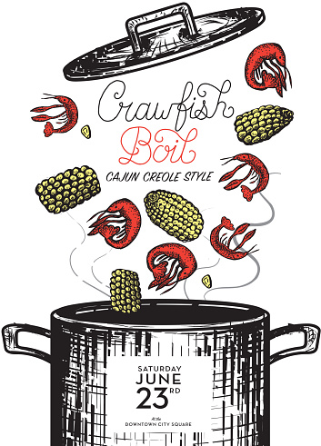Cajun Creole Crawfish Boil invitation design template . Includes cooking pot with lid, crayfish, corn on the cob. Handwritten text and placement text. Easy to edit on separate layers.