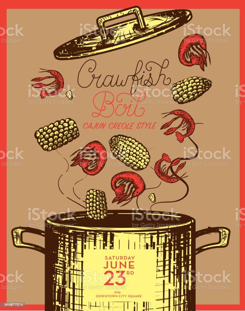 Cajun Creole Crawfish Boil invitation design template vector art illustration