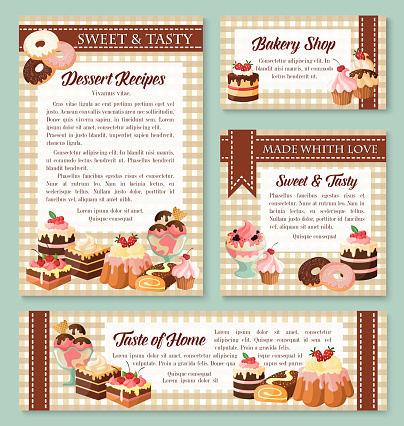 Cake and bakery shop banner with pastry desserts