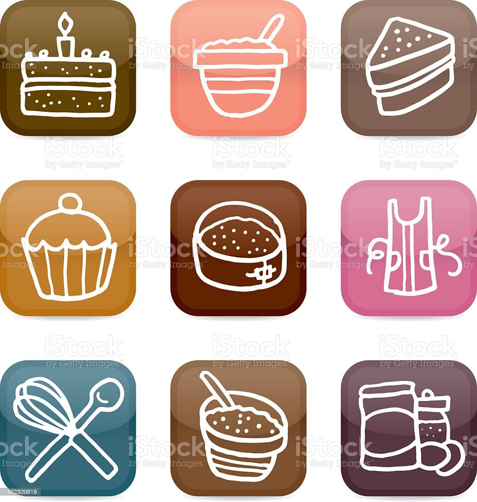 Cake and baking icon set royalty-free stock vector art