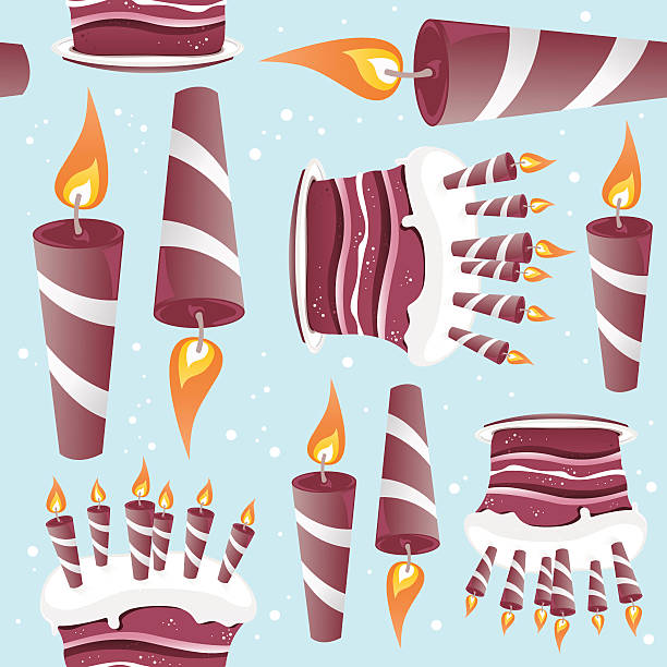 Cake And Candles Seamless Pattern vector art illustration