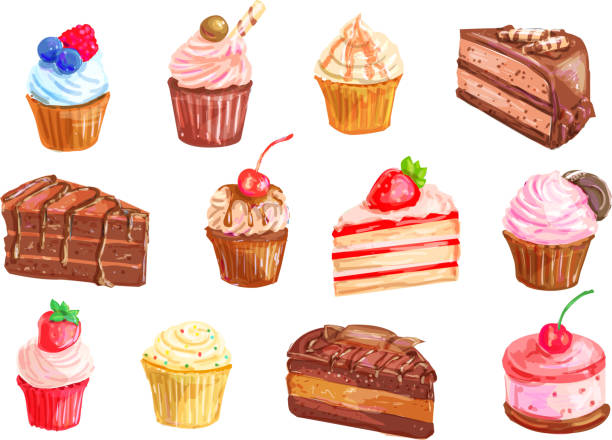 Cake and cupcake dessert watercolor set design Cake and cupcake dessert set with watercolor illustration of sweet food. Cake, cupcake, cream fruit dessert, chocolate brownie, muffin, strawberry pie and cheesecake with whipped cream and berry dessert stock illustrations