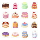 Cake and dessert cartoon icons in set collection for design. Holiday cake vector symbol stock  illustration.