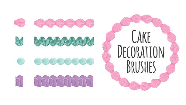 stockillustraties, clipart, cartoons en iconen met cake and dessert seamless decoration brushes. - suikerglazuur