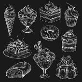 Cake and ice cream chalk sketch on blackboard