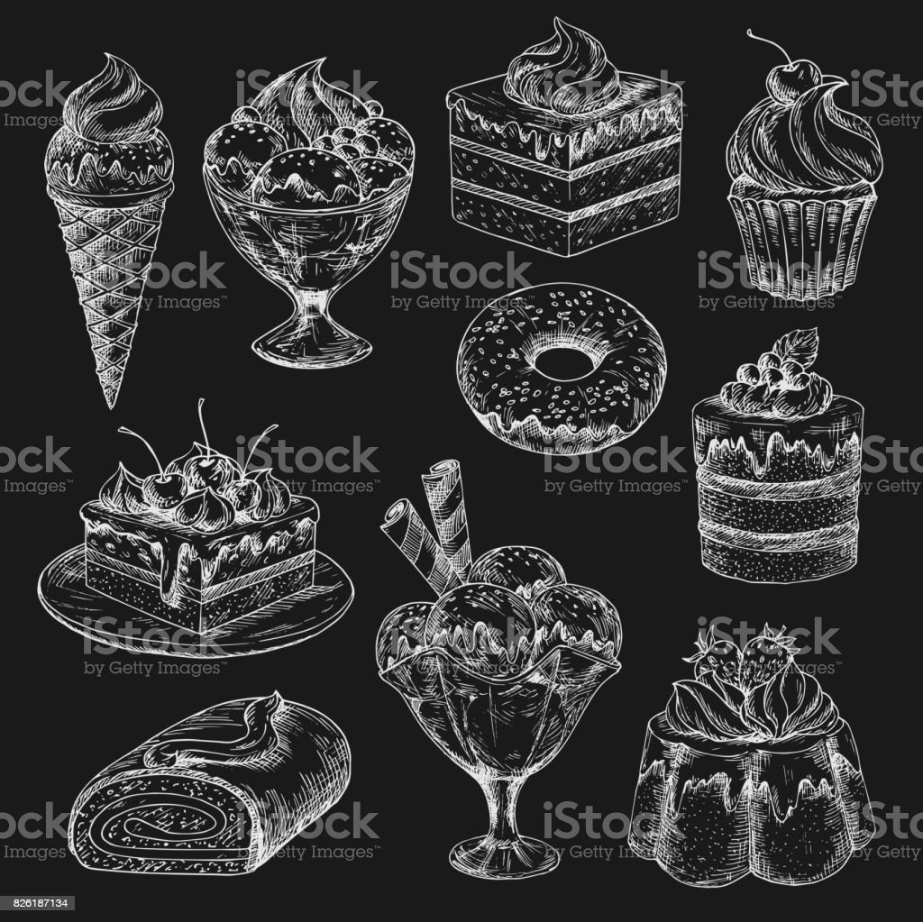 Cake and ice cream chalk sketch on blackboard vector art illustration