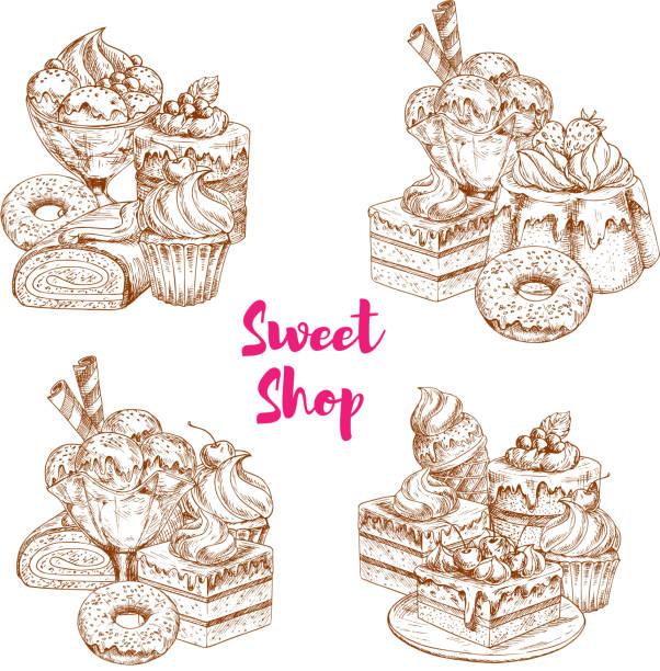 Cake and ice cream dessert sketch for food design vector art illustration