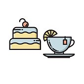Cake and tea cup, bakery, confectionary shop icon