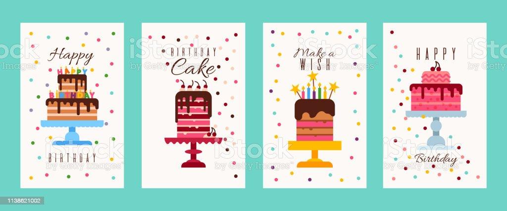 Ilustración De Pastel Cumpleaños Banners O Tarjetas De