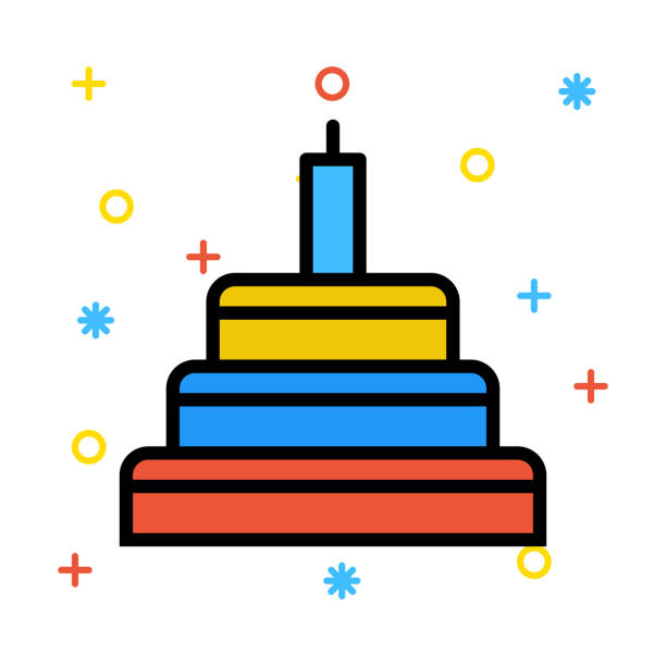 Cake Birthday Candle Vector Art Illustration