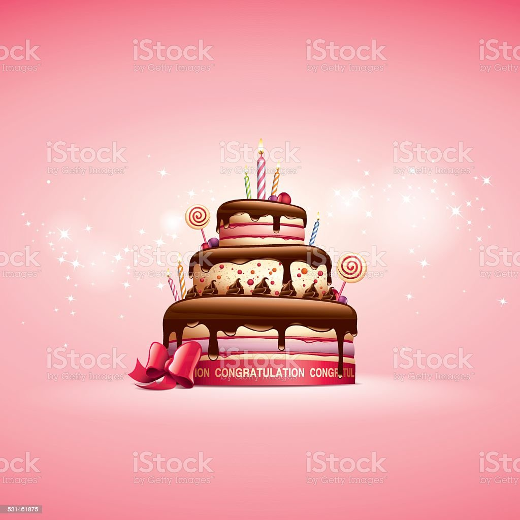 Cake - Birthday Card vector art illustration