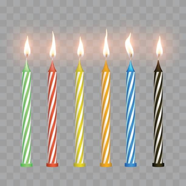 Cake candles with flame Cake candles with flame in vector cake silhouettes stock illustrations