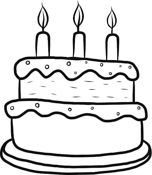 cake cartoon cake outline / cartoon vector and illustration, black and white, hand drawn, sketch style, isolated on white background. cartoon of birthday cake outline stock illustrations