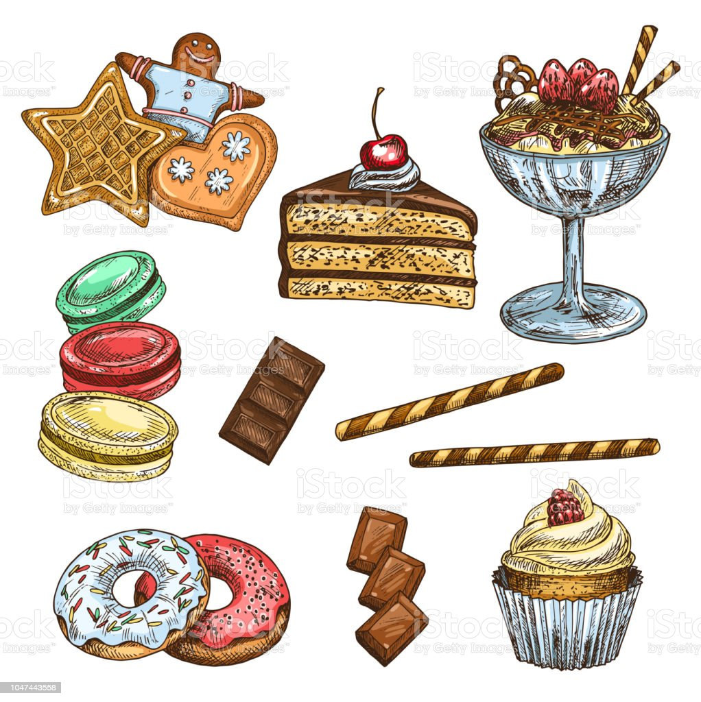 Cake, cupcake and ice cream dessert sketch vector art illustration