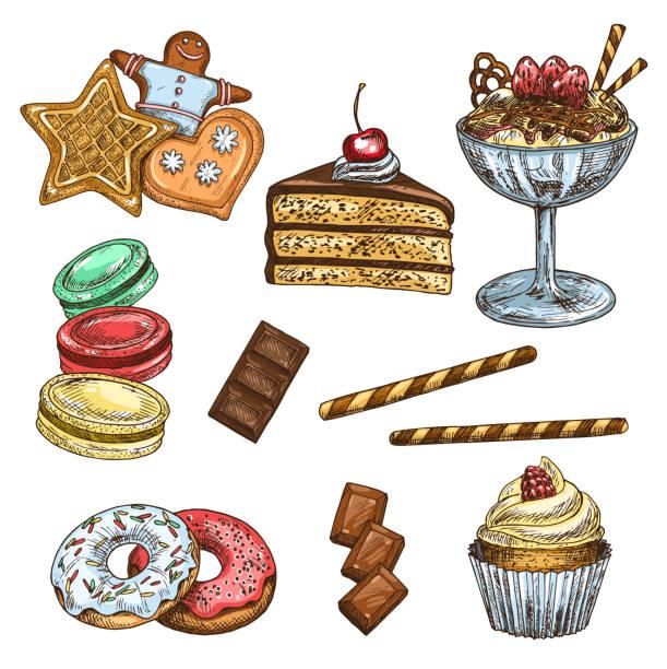 Cake, cupcake and ice cream dessert sketch vector art illustration