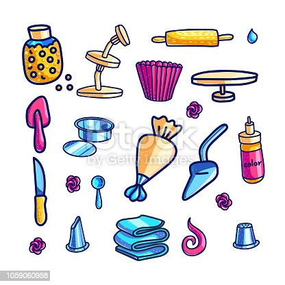Cake decorating tools hand drawn color illustrations set. Doodle cupcake baking and icing supplies. Baking stuff clipart collection. Bakery, cake making. Confectionery isolated vector design elements