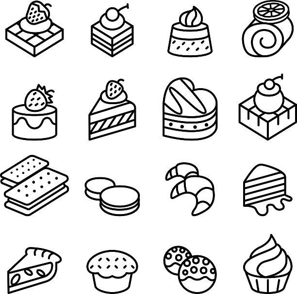 cake, dessert & bakery icon set in thin line style - tiramisu stock-grafiken, -clipart, -cartoons und -symbole