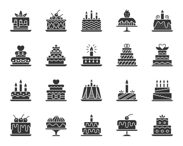 Cake Dessert black silhouette icons vector set Cake dessert icons set. Sign kit of sweet food. Birthday party pictograms of cupcake design, candle decoration, strawberry cream. Simple delicious black symbol isolated on white. Vector Icon shape anniversary silhouettes stock illustrations