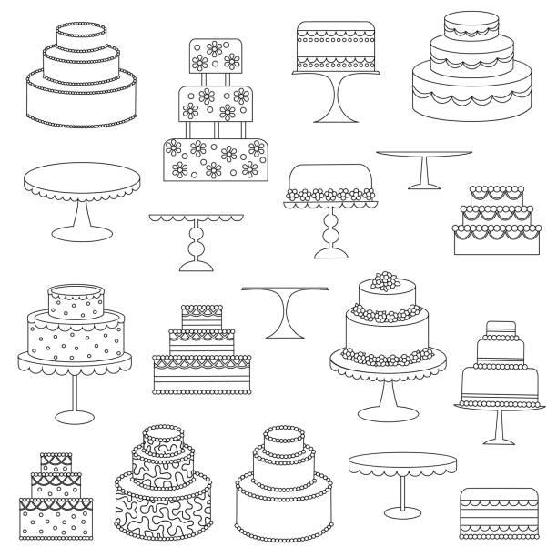 cake digital stamps cake digital stamps wedding cake stock illustrations