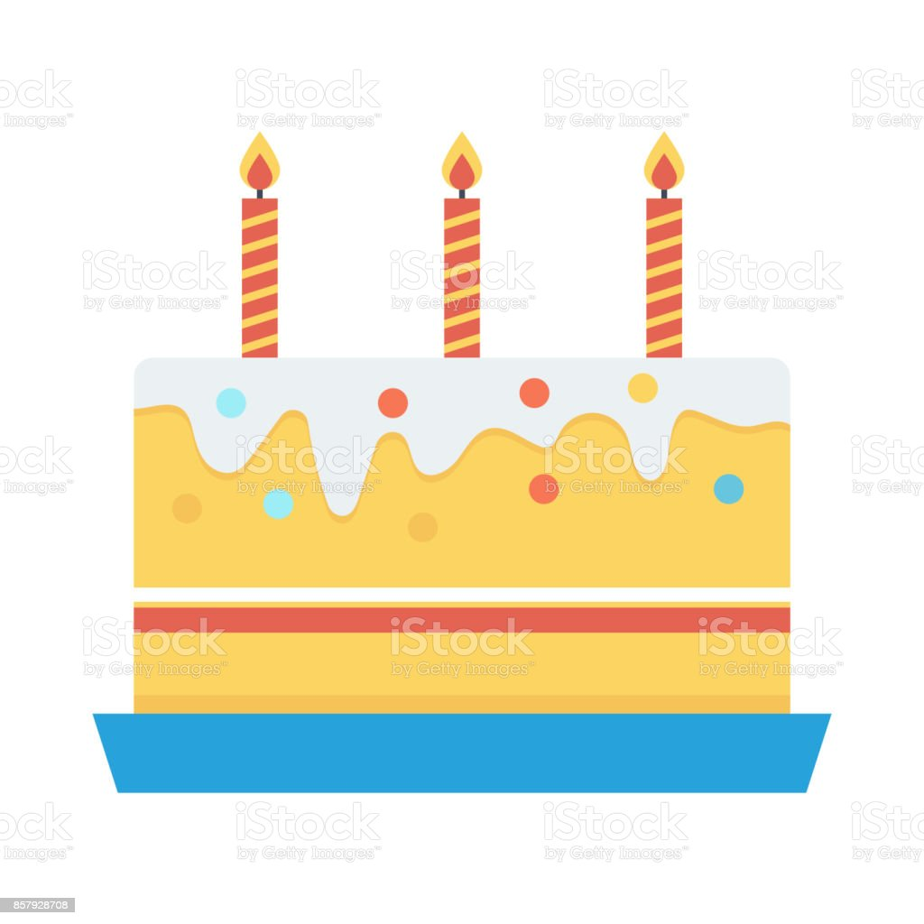 cake Flat Vector Icon vector art illustration