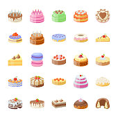 Cake Flat Vector Icons Set