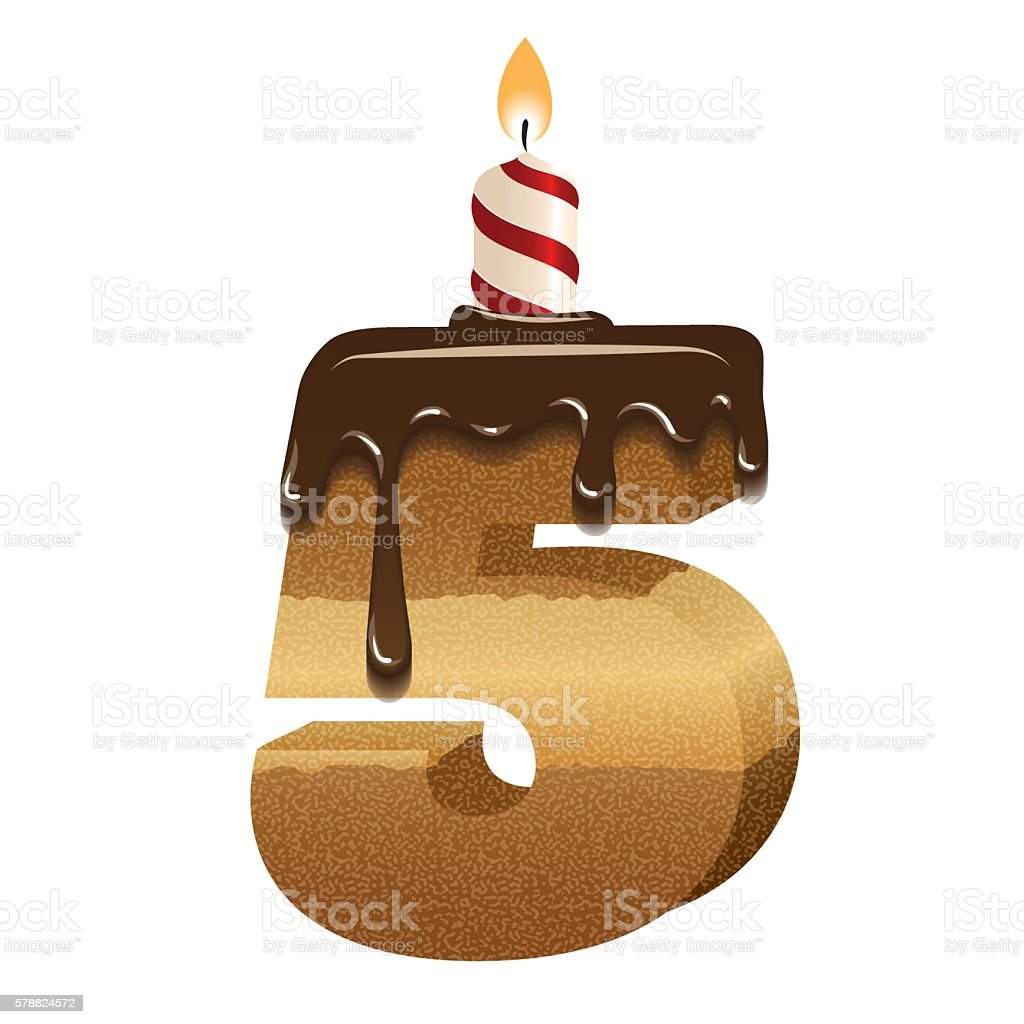 Cake Font Number Five 3d With Candle Stock Vector Art 578824572 Istock