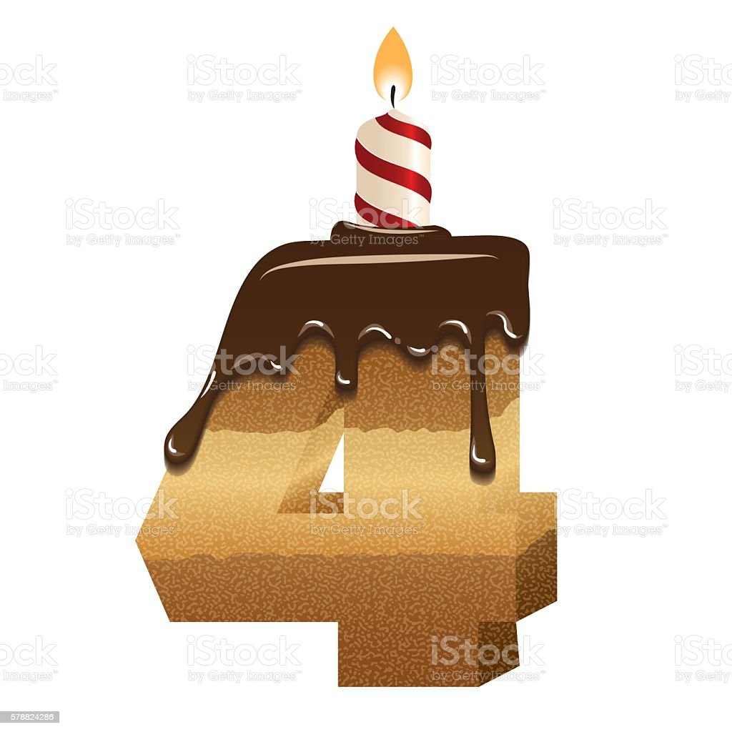 Cake Font Number Four 3d With Candle Stock Vector Art More Images