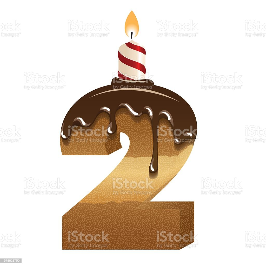Cake font number two 3d with candle stock vector art more images cake font number two 3d with candle royalty free cake font number biocorpaavc