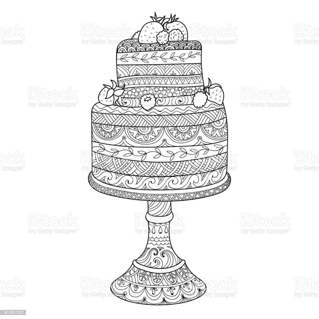 Cake For Anti Stress Coloring Book Stock Vector Art More Images Of