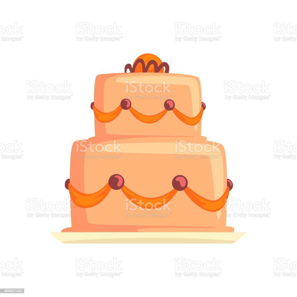 Kuchen Zum Geburtstag Urlaub Susses Dessert Cartoon Vector
