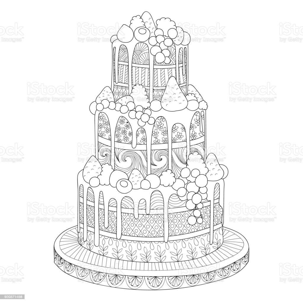 Coloriage Gateau Cake.Gateau Pour Le Cahier De Coloriage Vecteurs Libres De Droits Et Plus