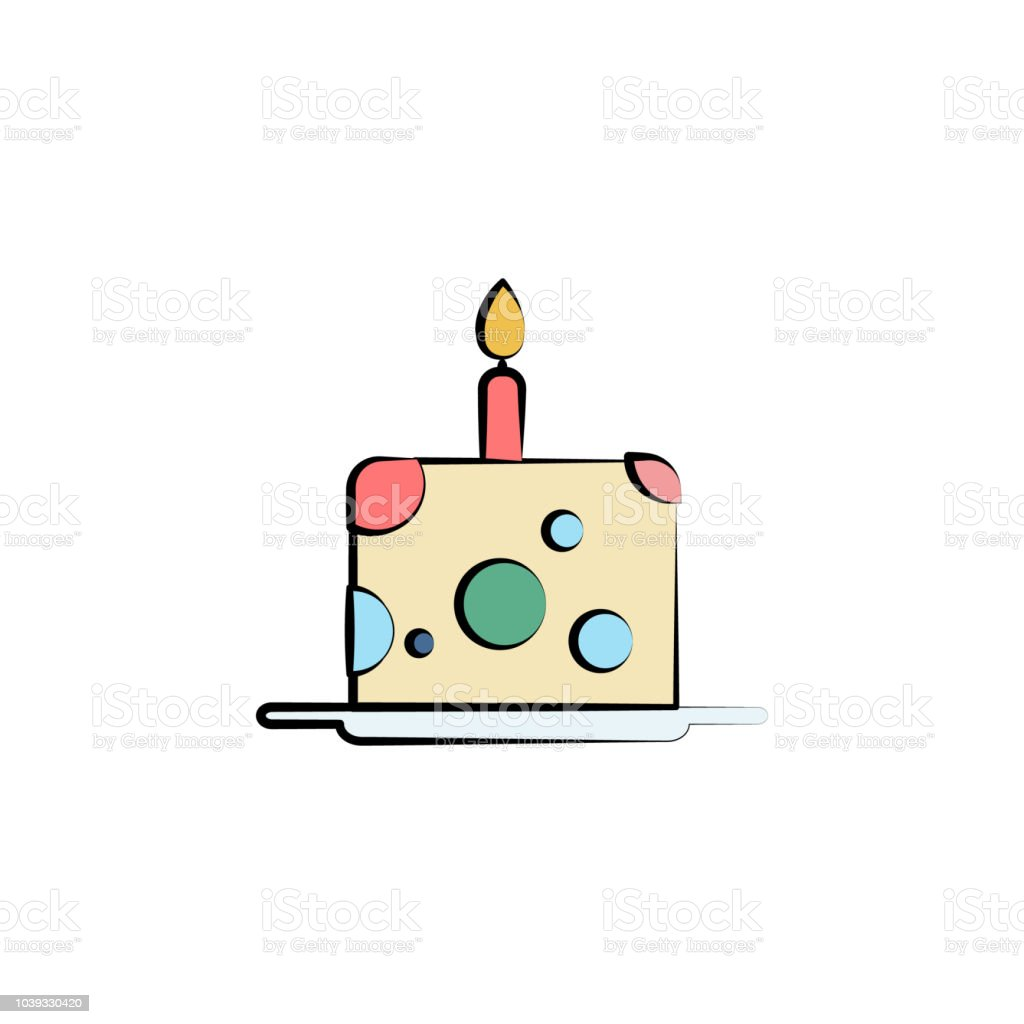 Cake For One Year Colored Icon Element Of Birthday Icon For Mobile