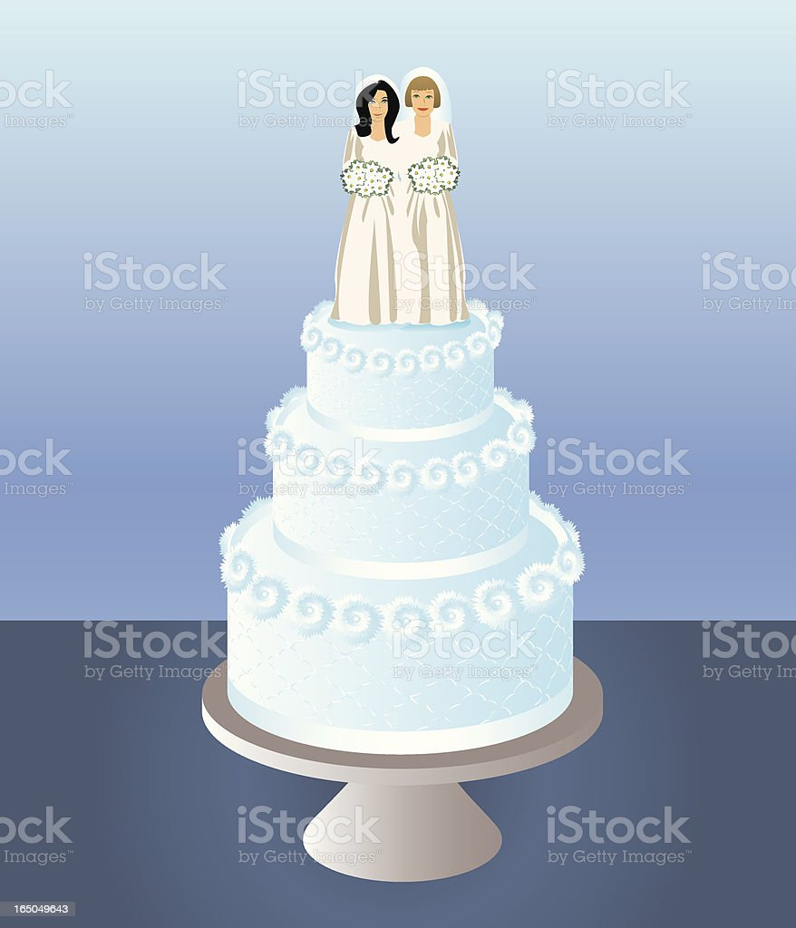 Cake for Two Brides vector art illustration