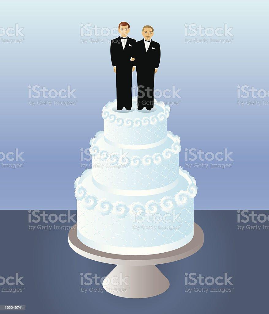 Bolo para dois noivos - ilustração de arte em vetor