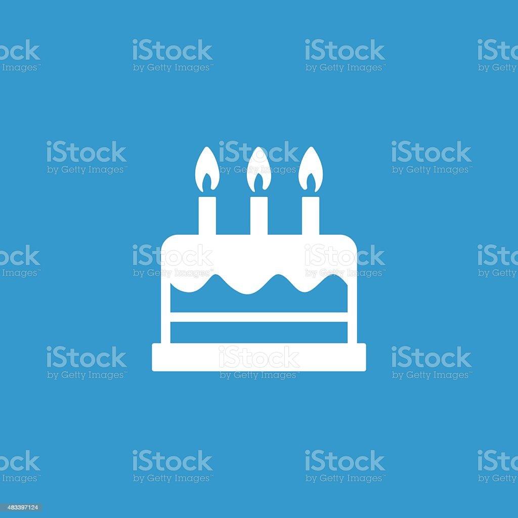 cake icon, isolated, white on the blue background