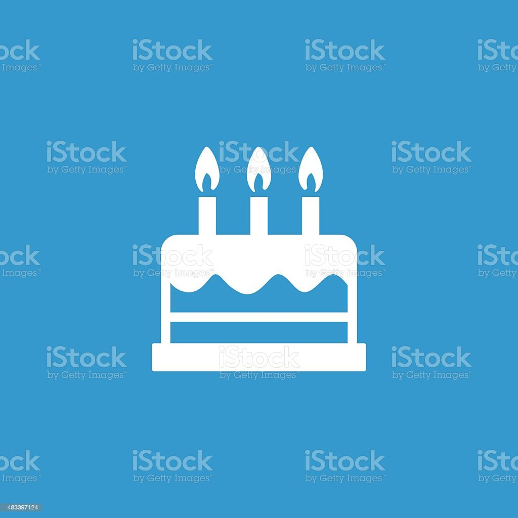 cake icon, isolated, white on the blue background vector art illustration