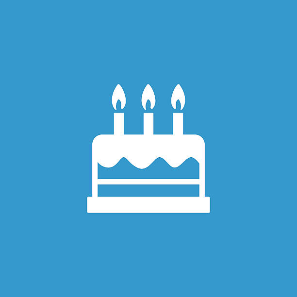 cake icon, isolated, white on the blue background - happy birthday cake stock illustrations, clip art, cartoons, & icons