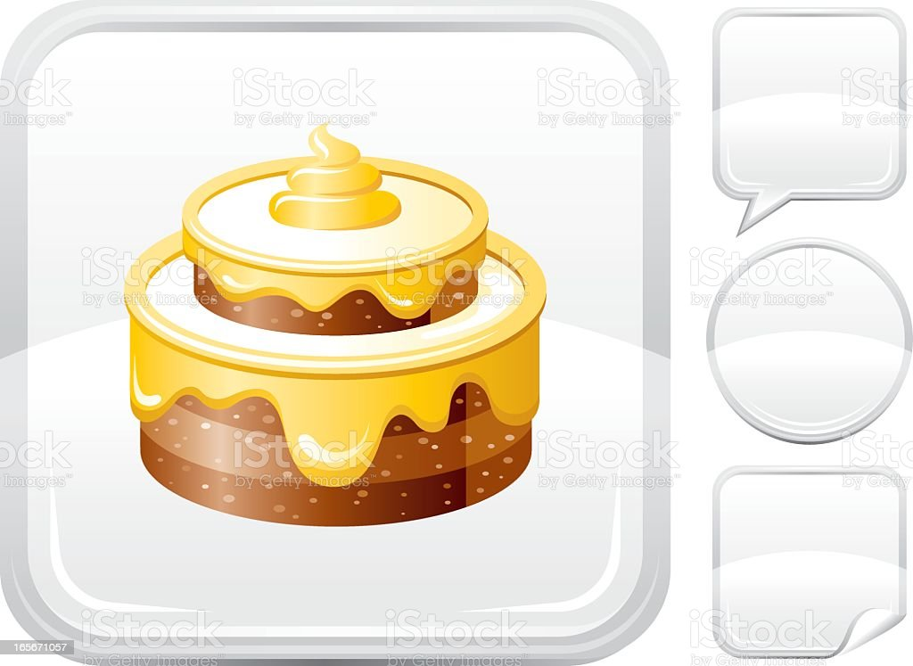 Cake icon on silver button vector art illustration