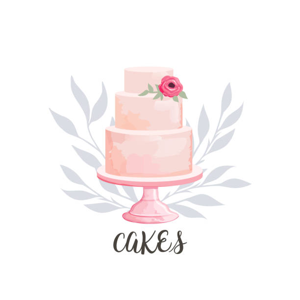 cake icon icon for cake shop and bakery with floral watercolor style elements. Vector illustration. cakestand stock illustrations