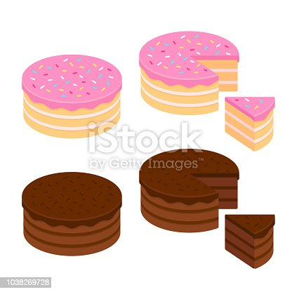 Birthday cake and chocolate cake isometric set, whole and cut slice. Isolated vector illustration.