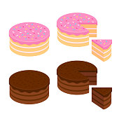 Birthday cake and chocolate cake isometric set, whole and cut slice. Isolated vector illustration.